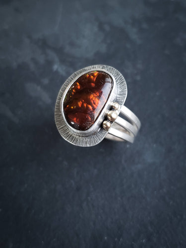 Fire Agate Ring with 14k Gold Granulation