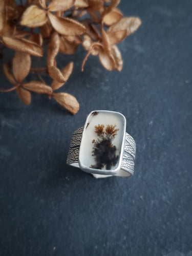 Dendritic Agate Sage Leaf Ring