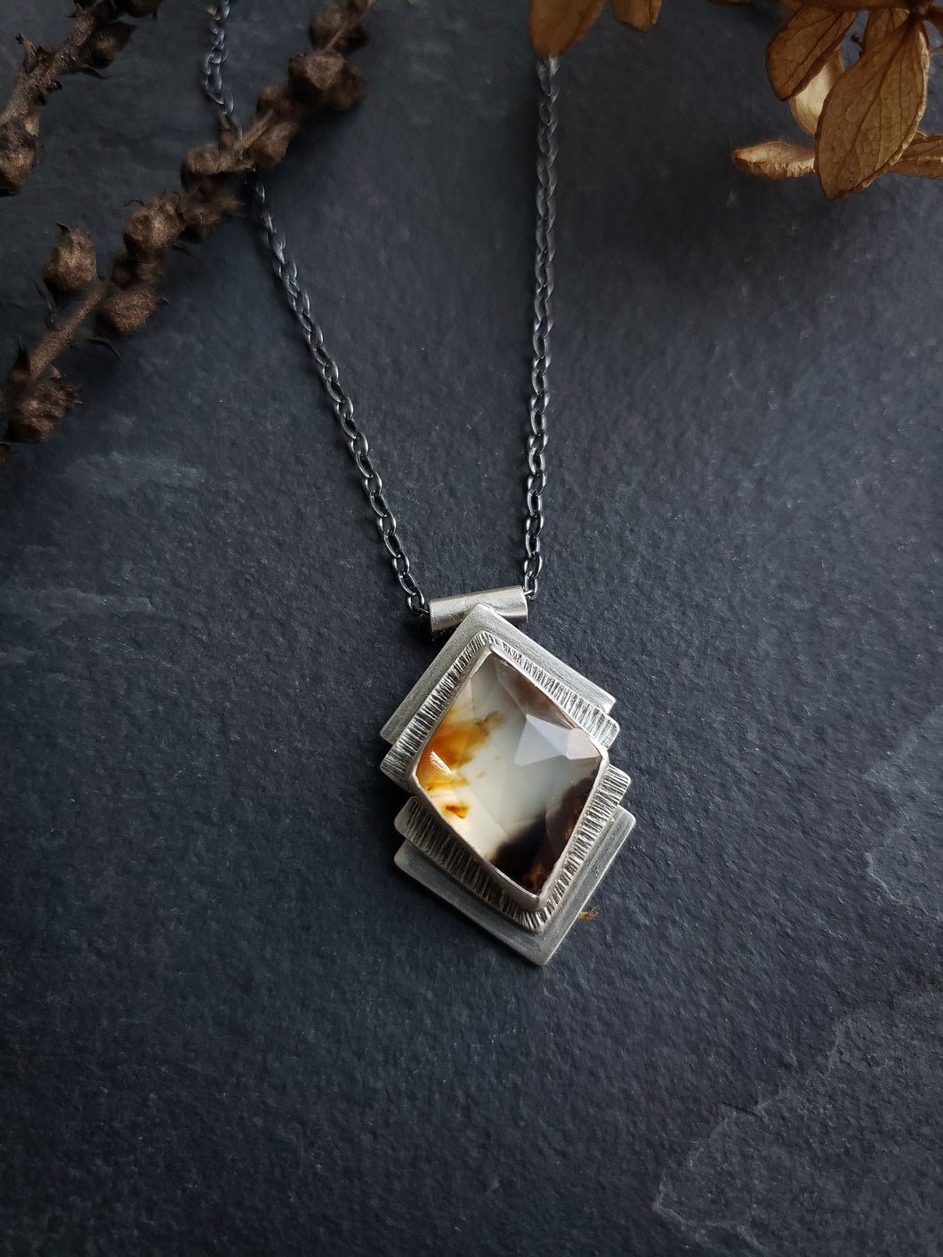 Diamond Montana Agate Necklace