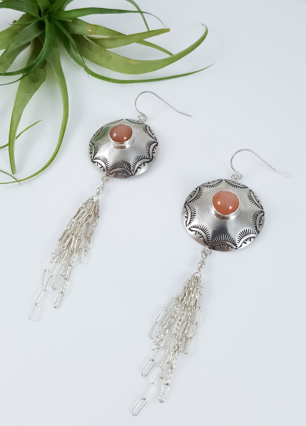 Peach Moon Stone Mandala Tassel Earrings