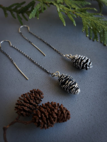Pine Cone Threader Earrings