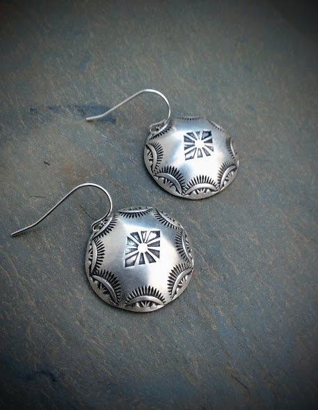 Southwestern Hand Stamped Dome Earrings