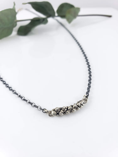 Succulent Pod Bar Necklace    //    Sterling Silver or Bronze & 14K Gold Filled