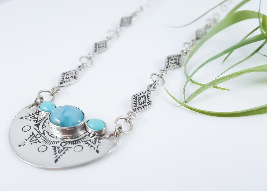 Larimar & Turquoise Hand Stamped Southwest Necklace