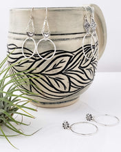 Southwestern Diamond Sterling Silver Hoop Earrings