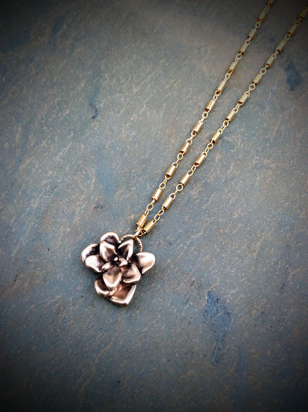 Succulent Flower Necklace   Silver or Bronze & 14k Gold Filled