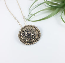 Hand Sculpted Bronze Mandala Necklace