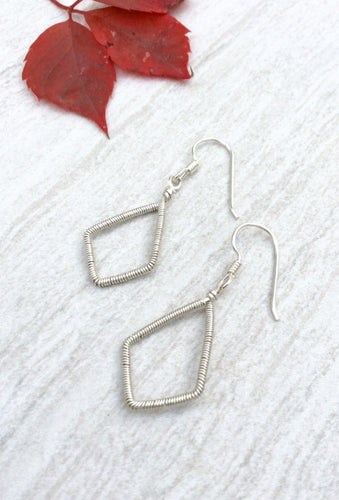 Silver Wire Wrapped Diamond Earrings