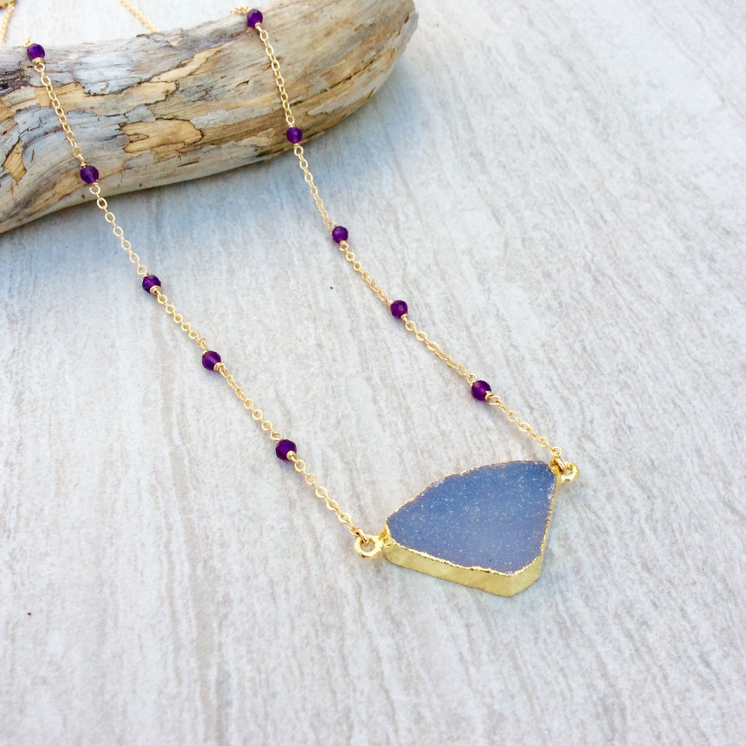 Gold Druzy Amethyst Necklace