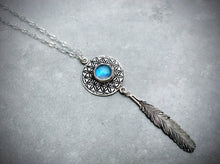 Moonstone Flower of Life Feather Necklace