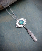 Hand Stamped Opal Feather Necklace