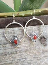 Hand Stamped Coral Hoop Earrings