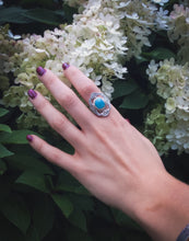 Larimar Silver and Gold Statement Ring