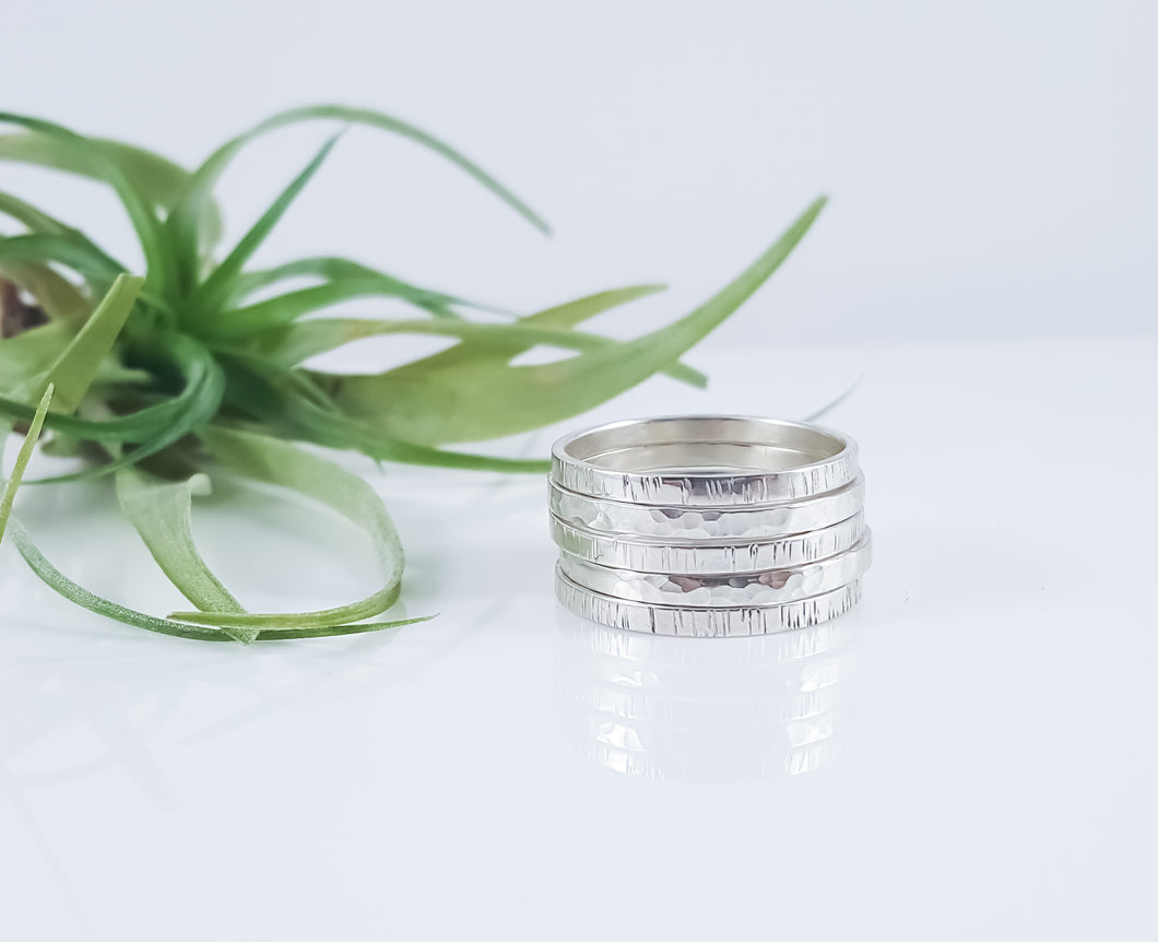 Hand Forged Simple Stacking Ring - Birch Bark or Hammered