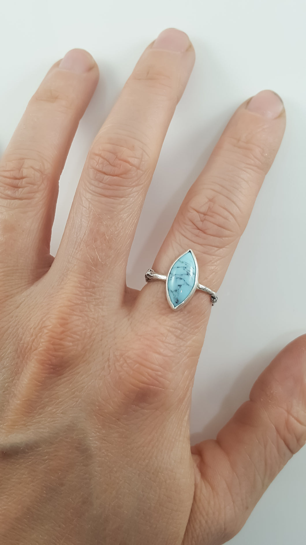 Marquise Turquoise Branch Band Ring