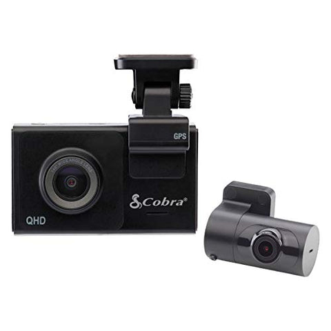 "Cobra Smart Dash Cam + Rear Cam (SC 200D) – QHD+ 1600P Resolution, Voice Commands, Built-in WiFi & GPS, 16GB SD Card, 3"" Display, Shared Alerts, Incident Reports, Emergency MayDay, Drive Smarter App"