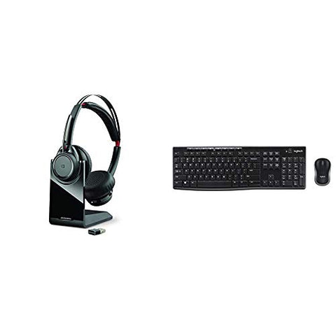 Plantronics Voyager Focus UC Bluetooth USB Headset with Active Noise Cancelling & Logitech MK270 Wireless Keyboard and Mouse Combo - Keyboard and Mouse Included, 2.4GHz Dropout-Free Connection