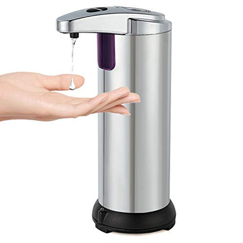 Automatic Soap Dispenser, Touchless Soap Dispenser with Waterproof Base, Infrared Motion Sensor Stainless Steel Dish Liquid Soap Dispenser Suitable for Bathroom Kitchen Restaurant