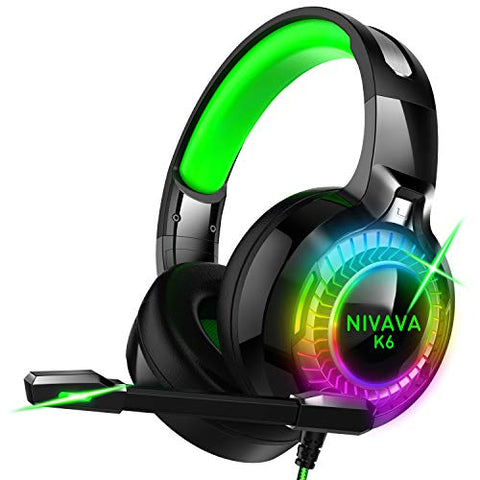Nivava Gaming Headset for PS4, Xbox One, PC Headphones with Microphone LED Light Mic for Nintendo Switch PS5 Playstation Computer, K6(Green)