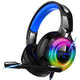 Nivava Gaming Headset for PS4, Xbox One, PC Headphones with Microphone LED Light Mic for Nintendo Switch PS5 Playstation Computer, K6(Blue)