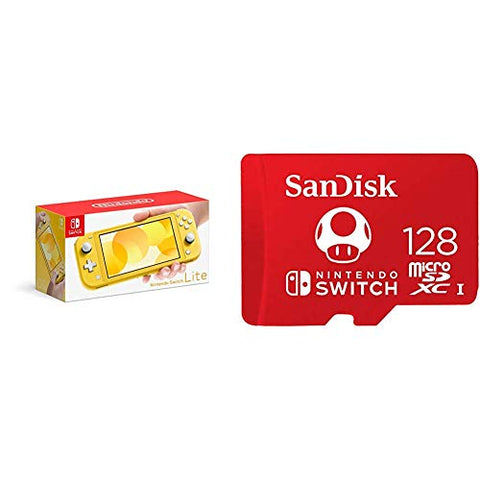 Nintendo Switch Lite - Yellow with SanDisk 128GB MicroSDXC UHS-I Card for Nintendo Switch