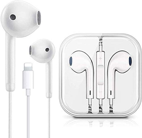 Lighting Connector Earbuds Earphone Wired Headphones Headset with Mic and Volume Control,Isolation Noise,Compatible with Apple iPhone 11 Play Grill Cloth (White)