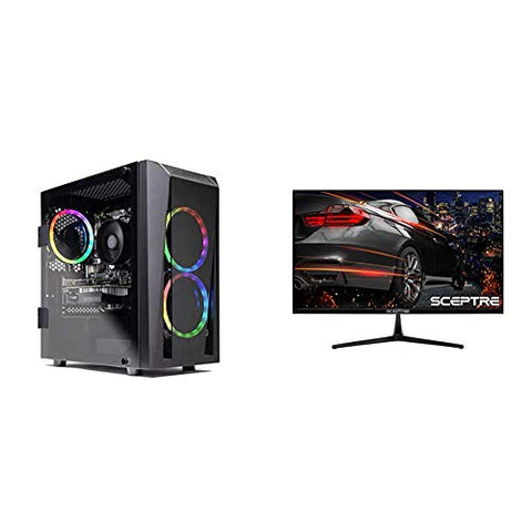"SkyTech Blaze II Gaming Computer PC Desktop – Ryzen 5 2600 6-Core 3.4 GHz, NVIDIA GeForce GTX 1660 6G & Sceptre E255B-1658A 25"" 165Hz 144Hz AMD FreeSync Gaming LED Monitor 2X HDMI 2.0 1x DisplayPort"