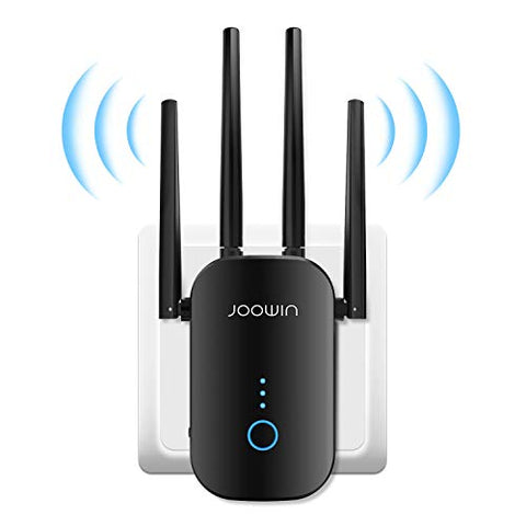WiFi Extender, JOOWIN 1200Mbps WiFi Range Extender WiFi Repeater Wireless Signal Internet Booster for Home, 2.4GHz 5GHz Dual Band Internet Extender with External Antennas