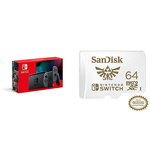 Nintendo Switch with Gray Joy‑Con - HAC-001(-01) + SanDisk 64GB MicroSDXC UHS-I Card