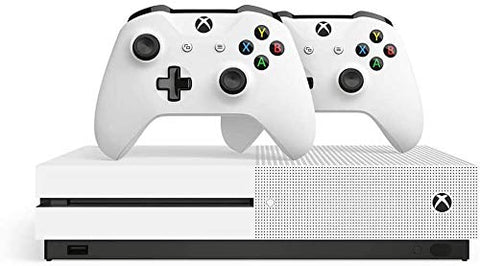 Microsoft Xbox One S 1TB HDD with Two Wireless Controllers (Previous Model) White, Override Mech City Brawl Game Disc and Mytrix HDMI 2.0 Cable