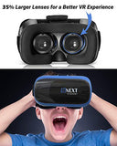 VR Headset Compatible with iPhone & Android Phone - Universal Virtual Reality Goggles - Play Your Best Mobile Games 360 Movies with Soft & Comfortable New 3D VR Glasses | Blue | w/ Eye Protection