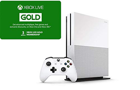 Xbox One S 1TB Bundle - Version 2, 1x Wireless Controller - Xbox Live 3 Month Gold Membership (Digital) - 1 Month Xbox Game Pass Trial