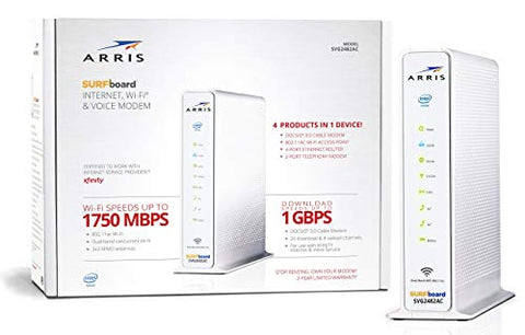 ARRIS Surfboard (24x8) DOCSIS 3.0 Cable Modem Plus AC1750 Dual Band Wi-Fi Router and Xfinity Telephone, 1 Gbps Max Speed, Certified for Comcast Xfinity Only (SVG2482AC) (Renewed)