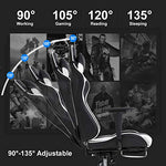 PC Gaming Chair Racing Office Chair Ergonomic Desk Chair Massage PU Leather Recliner Computer Chair with Lumbar Support Headrest Armrest Footrest Rolling Swivel Task Chair for Adults, White