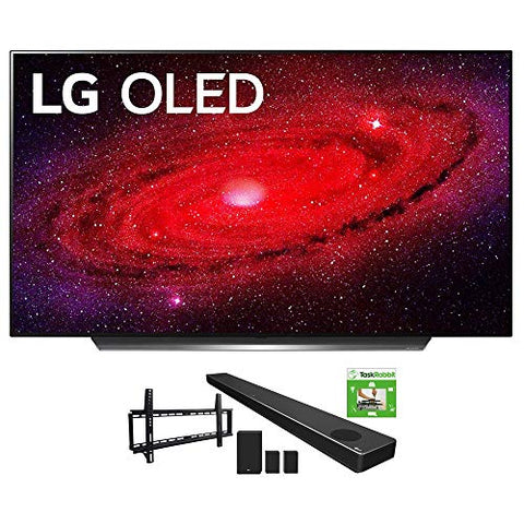 LG OLED65CXPUA 65-inch CX 4K Smart OLED TV with AI ThinQ (2020) Bundle SN11RG 7.1.4 ch High Res Audio Sound Bar + TaskRabbit Installation Services + Vivitar Low Profile Flat TV Wall Mount