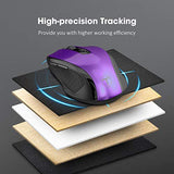 VicTsing Wireless Mouse, 2.4G 2400DPI Ergonomics Cordless Mouse with USB Receiver, Finger Rest, 5 Adjustable DPI Levels, Mobile USB Mice for Chromebook Notebook MacBook Laptop Computer PC, Purple