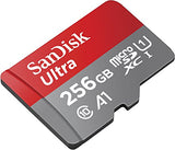 SanDisk 256GB Ultra microSDXC UHS-I Memory Card with Adapter - 100MB/s, C10, U1, Full HD, A1, Micro SD Card - SDSQUAR-256G-GN6MA