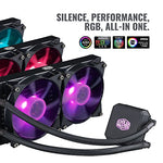 Cooler Master MasterLiquid LC240E RGB Close-Loop AIO CPU Liquid Cooler, 240mm Radiator, Dual Chamber RGB Pump, Dual MF120R RGB Fans, RGB Lighting for AMD Ryzen/Intel LGA1151