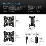 AC Infinity MULTIFAN S5, Quiet Dual 80mm USB Fan, UL-Certified for Receiver DVR Playstation Xbox Computer Cabinet Cooling
