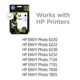 HP 64 | 2 Ink Cartridges | Black, Tri-color | N9J90AN, N9J89AN