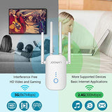 JOOWIN WiFi Extender AC1200 WiFi Range Extender 2.4GHz & 5.8GHz Dual Band Wireless Signal Booster WiFi Repeater with External Antennas - Extending WiFi to Whole Home and Garden