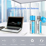 AA Batteries - USB Rechargeable Double A Lithium Batteries - Li-ion Battery Cell - 1.5V / 1200mAH (4-Pack) - Not NI-MH/NI-CD/Alkaline Batteries - ECO-Friendly and Recyclable - No Memory Effect