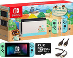 "Newest Nintendo Switch with Neon Blue and Neon Red Joy-Con, Animal Crossing: New Horizons Edition 6.2"" Touchscreen Display- Family Christmas Holiday Gaming Bundle w/CUE Accessories"