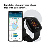 Fitbit Versa 3 Health & Fitness Smartwatch with GPS, 24/7 Heart Rate, Alexa Built-in, 6+ Days Battery, Black/Black, One Size (S & L Bands Included)