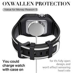 OXWALLEN Snap On Bumper for Apple Watch Case with Band 44mm 42mm, Ruggged Drop-proof Screen Protector Accessries Cover for iWatch Series 6/SE/3/4/5 Active Sport Women & Men - Black/White