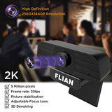 Flian Webcam with Microphone, 2K Webcam Viewing Angle 115 Degrees, PC Laptop Desktop USB Streaming Webcams, Built-in Dual Noise Reduction Mics, Computer Camera for Video Calling, Conferencing, Gaming