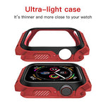 Compatible Apple Watch Case 44mm, Series 4 Series 5 Shock-Proof and Shatter-Resistant Protector Bumper iwatch Case(Red Black)