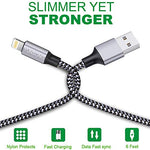 iPhone Charger, YUNSONG 3Pack 6FT Nylon Braided Lightning Cable Charging Cord USB Cable Compatible with iPhone 11 Pro Max XS XR X 8 7 6S 6 Plus SE 5S