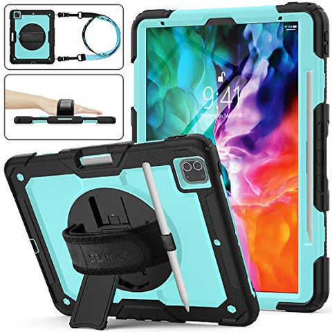 SEYMAC stock Case for iPad Pro 12.9 2020, Protection Case with 360 Degrees Rotating Stand [Pencil Holder] [Screen Protector] Hand Strap for iPad Pro 12.9 2020 (SkyBlue+Black)