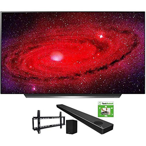 LG OLED65CXPUA 65-inch CX 4K Smart OLED TV with AI ThinQ (2020) Bundle SN10YG 5.1.2 ch High Res Audio Sound Bar + TaskRabbit Installation Services + Vivitar Low Profile Flat TV Wall Mount